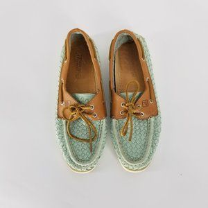 Sperry Womens 9 Woven Leater Deck Boat Woven Shoes